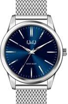 Q&Q mannen horloge QB02J801Y- zilverkleurige band en blauwe wijzerplaat