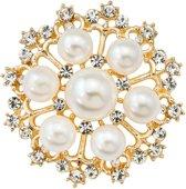 Fako Bijoux® - Broche - Parel Kristal Jessica - 35x35mm - Goudkleurig
