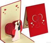 Popcards popupkaarten Romantische trouwkaart met bruidspaar