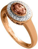 Diamonfire - Zilveren ring met steen Maat 18.5 - Ros'goudverguld - Ovale bruine steen