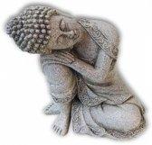 Rustende - Boeddha - steengrijs - 19,5cm