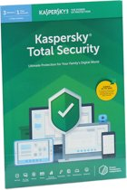 Kaspersky Total Security | 3 Apparaten | 1 Jaar | Engelse verpakking | Alle Europese talen