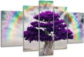 Glasschilderij Boom | Paars, Grijs | 170x100cm 5Luik | Foto print op Glas |  F005884