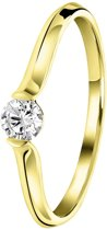 Lucardi - Diamond Luxury - 14 karaat geelgouden ring lab grown diamant 0,20ct