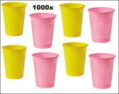 1000x Roze en gele plastic beker