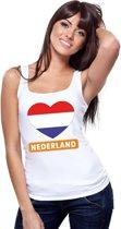 Nederland hart vlag singlet shirt/ tanktop wit dames M