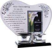 Waxinehouder in memoriam overleden glas hart met mini urn gedicht Mijn Herinnering...