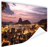 Rio de Janeiro in de avond Poster 180x120 cm - Foto print op Poster (wanddecoratie woonkamer / slaapkamer) / Steden Poster XXL / Groot formaat!