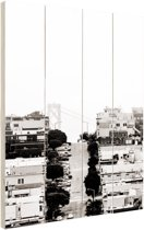 FotoCadeau.nl - San Francisco zwart-wit Hout 20x30 cm - Foto print op Hout (Wanddecoratie)