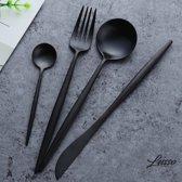 Lusso Elegante - Metallic Mat Zwart Bestek Set – Luxe Design – 4 Delig - 1 Persoon