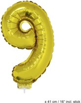 Helium Ballon Nummer 9 - Goud - 41 Cm