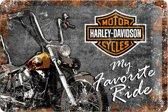 Harley-Davidson Favorite Ride Metalen wandbord in relief 20 x 30 cm.