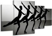 Canvas schilderij Dansen | Zwart, Wit, Grijs | 160x90cm 4Luik