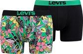 Levis - Heren 2-Pack Wiggly Flower Brief Boxershorts Zwart Multi - XXL