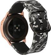 """Sportbandje """"Black Silver Flowers"""" Small - geschikt voor Galaxy Watch 42mm en Galaxy Watch Active/Active 2"""