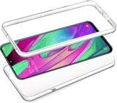 iCall - Samsung Galaxy A40 Hoesje + Screenprotector - 2 in 1 Siliconen TPU Case Transparant voor Volledige 360 Graden Bescherming Voor- en Achterkant