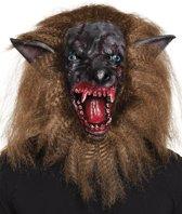 Latex hoofdmasker Bebloede weerwolf met haar