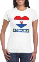 Kroatie hart vlag t-shirt wit dames M