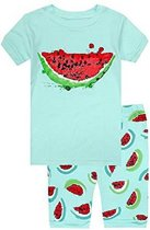 El-ow-el Meisjes Watermeloen Korte Mouwen Pyjama set 100% katoen (maat 98/3 jaar)