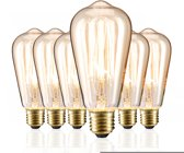 relaxdays gloeilamp E27 - vintage - set van 6 - Edison - retro - decoratie - kooldraadlamp