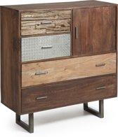 LaForma Loft - Cabinet kast - Mango hout - 4 lades en 1 metalen deur
