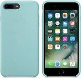 Luxe siliconen hoesje - turquoise - voor Apple iPhone 7 Plus - iPhone 8 Plus - suède binnenkant
