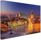 Warschau bij nacht Canvas 80x60 cm - Foto print op Canvas schilderij (Wanddecoratie woonkamer / slaapkamer) / Steden Canvas Schilderijen