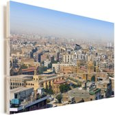 Skyline van Karachi Vurenhout met planken 120x80 cm - Foto print op Hout (Wanddecoratie)