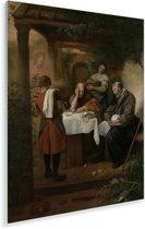 De Emmausgangers - Schilderij van Jan Steen Plexiglas 120x160 cm - Foto print op Glas (Plexiglas wanddecoratie) XXL / Groot formaat!