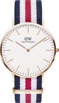 Daniel Wellington Classic Canterbury - Horloge - Blauw/Wit/Rood - 40 mm