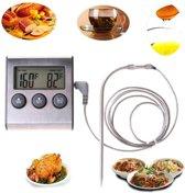 2-in-1 Magnetische Digitale Kern Thermometer Met Keuken Timer Alarm - Magnetische Vloeistof/Vlees Temperatuurmeter Met Meetsonde Draad & Kook Timer - 0-250 Graden Celcius