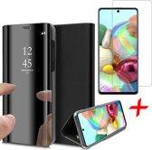 Samsung Galaxy A71 Hoesje - Book Case Wallet Spiegel Case + Screenprotector - Zwart