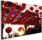 Lampionnen in Peking China Glas 120x80 cm - Foto print op Glas (Plexiglas wanddecoratie)
