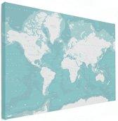 Wereldkaart Canvas Blauw muur decoratie 80x60 cm | Wereldkaart Canvas Schilderij