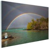 Regenbogen over meer Glas 90x60 cm - Foto print op Glas (Plexiglas wanddecoratie)