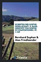 Schriften Der Goethe-Gesellschaft