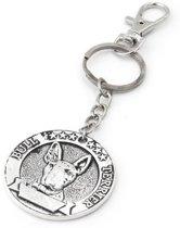 Sleutelhanger met 4cm metalen munt bull terrier