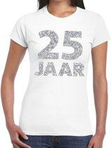 25 jaar zilver glitter verjaardag t-shirt wit dames - verjaardag / jubileum shirts XL