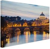 Rome in de avond Canvas 60x40 cm - Foto print op Canvas schilderij (Wanddecoratie)