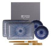 Tokyo Design Studio Kotobuki Sushi Servies - Blauw - 6-delig - 2-persoons