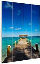 Steiger op de Bahamas Hout 40x60 cm - Foto print op Hout (Wanddecoratie)