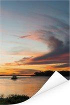 Prachtige zonsondergang bij de Pantanal Poster 60x90 cm - Foto print op Poster (wanddecoratie woonkamer / slaapkamer)