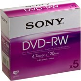 Sony DVD-RW 120min/4,7GB 5 stuks in jewelcase