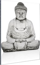 Stenen standbeeld van Boeddha Aluminium 80x120 cm - Foto print op Aluminium (metaal wanddecoratie)