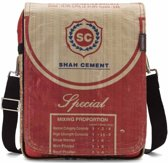 Used2b Urban Messenger Upcycled Schoudertas Flap - Cement - 26 x 33 cm - Rood