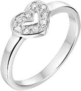 The Jewelry Collection Ring Hart Zirkonia - Zilver Gerhodineerd
