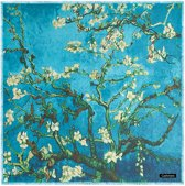 Dames sjaal - cashmere -  amandelbloesem - Van Gogh - omslagdoek - stola - shawl - blauw + gift box