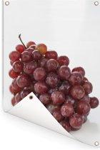 Verse tros rode druiven op een witte achtergrond Tuinposter 80x120 cm - Tuindoek / Buitencanvas / Schilderijen voor buiten (tuin decoratie)