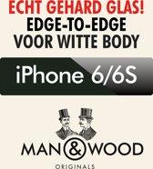 Man & Wood Edge to Edge Screenprotector / Schermbescherming ECHT GEHARD GLAS (Tempered Glass) - iPhone 6/6S - WIT