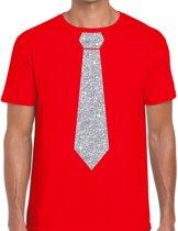 Rood fun t-shirt met stropdas in glitter zilver heren S